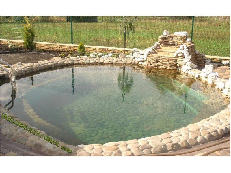 Купальне Озеро Декоративні водойми, пруд с водопадом, рибалка в подвірї